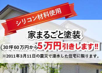 シリコン材料使用、家まるごと塗装10万円引きします!※2011年3月11日の震災で浸水した住宅に限ります。