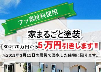 フッ素材料使用、家まるごと塗装10万円引きします!※2011年3月11日の震災で浸水した住宅に限ります。